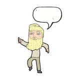 homme barbu de bande dessinée montrant le chemin avec la bulle de la parole Photo stock