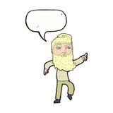 homme barbu de bande dessinée montrant le chemin avec la bulle de la parole Image libre de droits