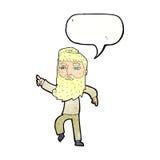 homme barbu de bande dessinée montrant le chemin avec la bulle de la parole Image stock