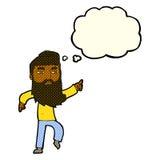homme barbu de bande dessinée montrant le chemin avec la bulle de pensée Images stock