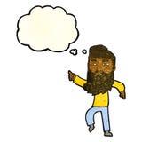 homme barbu de bande dessinée montrant le chemin avec la bulle de pensée Photos libres de droits