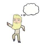 homme barbu de bande dessinée montrant le chemin avec la bulle de pensée Photographie stock libre de droits