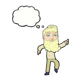 homme barbu de bande dessinée montrant le chemin avec la bulle de pensée Image libre de droits