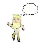 homme barbu de bande dessinée montrant le chemin avec la bulle de pensée Image stock