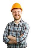 Homme barbu heureux drôle dans un casque photographie stock libre de droits
