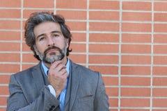 Homme barbu mûr de pensée dans un costume avec toucher sa barbe regardant loin Portrait désaturé au-dessus de fond de mur de briq Photos stock