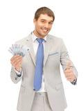 Homme bel avec de l'euro argent d'argent comptant Photos libres de droits