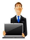 Homme bel avec l'ordinateur portatif Illustration Stock