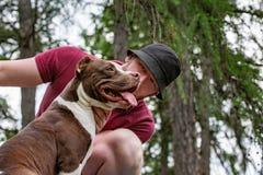 Homme bel avec la patte affectueuse et belle de chien Photo libre de droits