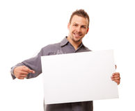 Homme bel avec le panneau Photo libre de droits