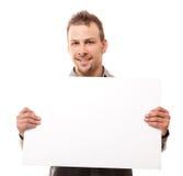 Homme bel avec le panneau Photos libres de droits