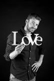Homme bel avec le texte d'amour Photos libres de droits