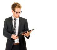 Homme bel d'affaires avec la tablette Photo stock