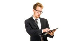 Homme bel d'affaires avec la tablette Images libres de droits