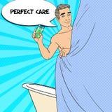Homme bel dans la douche avec le shampooing Soin de peau Illustration d'art de bruit Photographie stock libre de droits