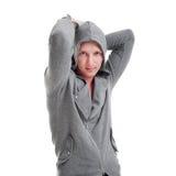 Homme bel dans la jupe grise Photos stock