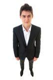 Homme bel de sourire d'homme d'affaires de jeunes sur le fond blanc F Image stock