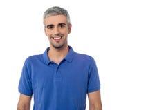 Homme bel de sourire d'isolement au-dessus du blanc Images stock