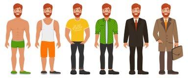 Homme bel de sourire dans différents types vêtements illustration stock