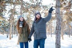 Homme bel marchant avec son amie en parc d'hiver Photo stock
