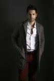 Homme bel portant un manteau gris photographie stock