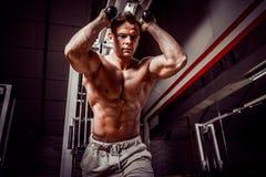 Homme bel s'exerçant faisant l'exercice abdominal image stock