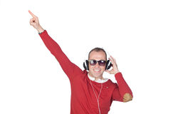 Homme bien disposé avec l'écouteur Photos libres de droits
