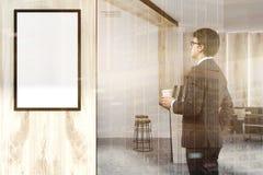 Homme blanc et en bois de côté d'affiche de réception de bureau Photo stock