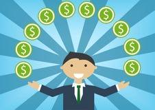 Homme blanc réussi d'affaires manipulant l'argent et le budget Illustration de vecteur des dollars de jonglerie de personnage de  illustration de vecteur