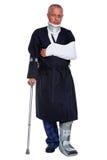 Homme blessé d'isolement sur le blanc photos libres de droits