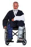 Homme blessé d'isolement sur le blanc photographie stock libre de droits