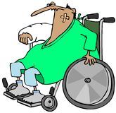 Homme blessé dans un fauteuil roulant Images libres de droits