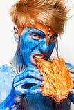 Homme bleu Photographie stock