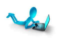 Homme bleu avec l'ordinateur portatif illustration libre de droits