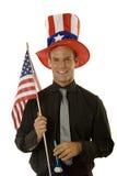 Homme célébrant le 4ème juillet Photo stock