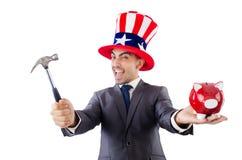 Homme cassant la banque Image libre de droits