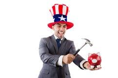 Homme cassant la banque Photos libres de droits