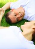 Homme caucasien regardant son épouse Images libres de droits