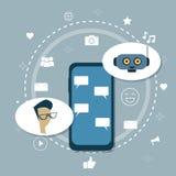 Homme causant avec l'appui mobile de robot moderne de Chatbot de Bot de broutement illustration stock