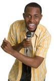 Homme chanteur de karaoke image stock