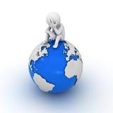 Homme chargé s'asseyant sur le globe illustration libre de droits