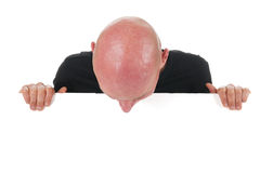 Homme chauve avec le panneau blanc Image stock