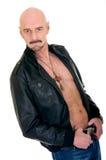 Homme chauve, jupe en cuir images stock