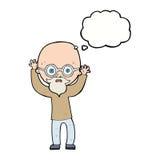 homme chauve soumis à une contrainte par bande dessinée avec la bulle de pensée Photos stock
