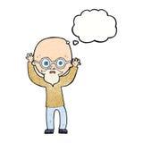 homme chauve soumis à une contrainte par bande dessinée avec la bulle de pensée Images libres de droits