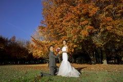 Homme chinois asiatique proposant à sa jeune mariée Images libres de droits