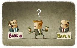 Homme choisissant le banquier illustration libre de droits