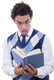 Homme choqué par le livre Photo libre de droits