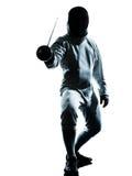 Homme clôturant la silhouette Image libre de droits