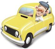 Homme conduisant la voiture jaune Renault 4 Photographie stock libre de droits